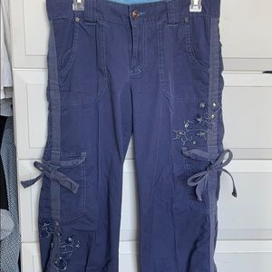 Embroidered Blue Cotton cargo pants